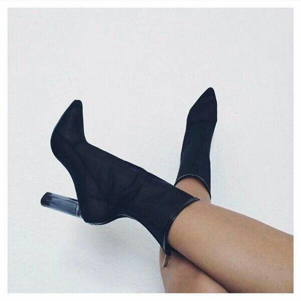 Perspex Heels Claro Mujer Botas Malla Caliente Bloque Transparentes Chunky Tobillo Mujeres Sandalias Talón Grueso Booties Verano Aire qH4xOw0n