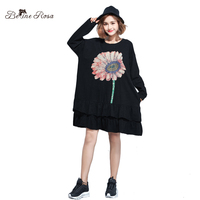 BelineRosa Autumn Winter Women Clothing Plus Size Dresses Women Floral Printing Ruffled Hem Long Sleeve Dress