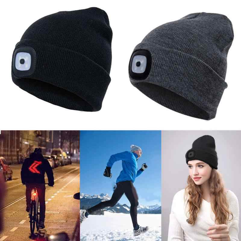 4437edfa78f ... Unisex Autumn Winter LED Lighted Cap Warm Beanies Outdoor Fishing  Running Beanie Hat Flash Men Women ...