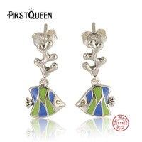 FirstQueen 925 Sterling Silver Enamel Ocean Fish Earrings Women Fashion Jewelry Friendship New Year Gift