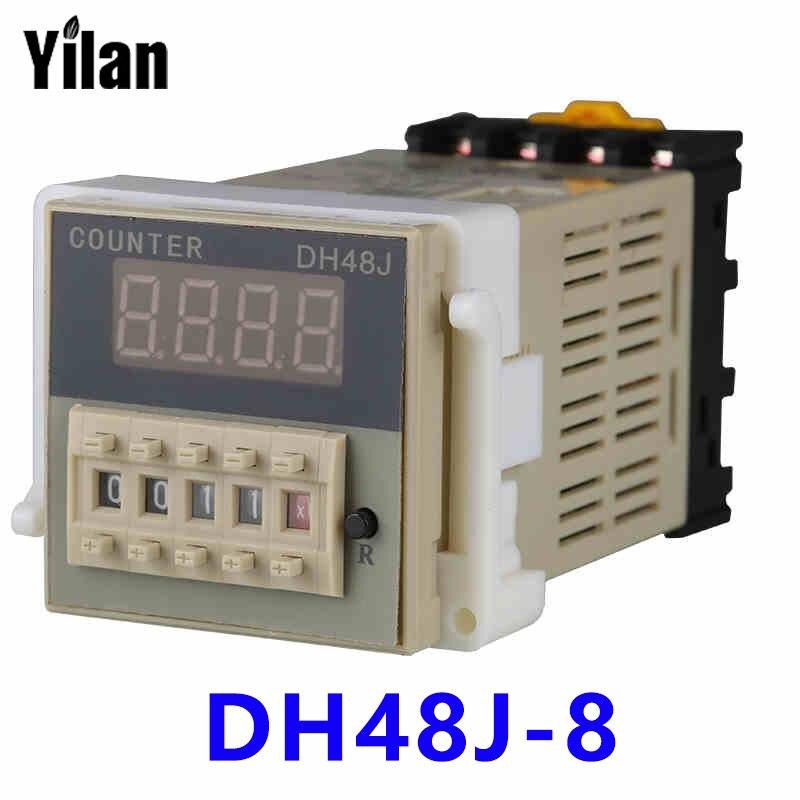 DH48J-8 preset counter 220V380v24v eight feet to send the base digital electronic counter  цены