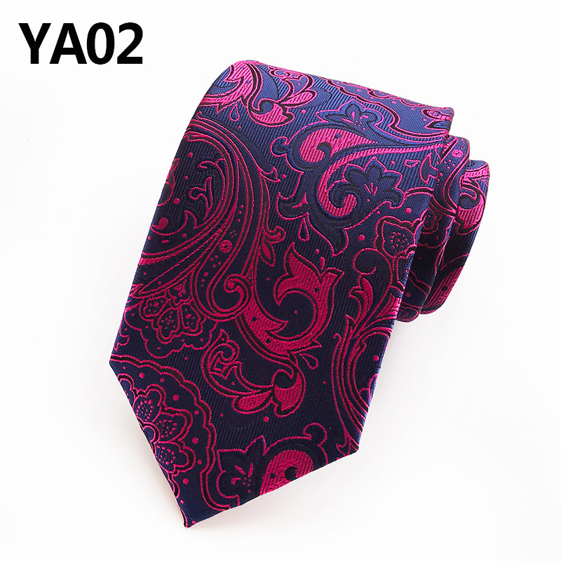 New Classic Paisley Dark Purple Flower JACQUARD WOVEN 100% Silk Men's Tie Necktie