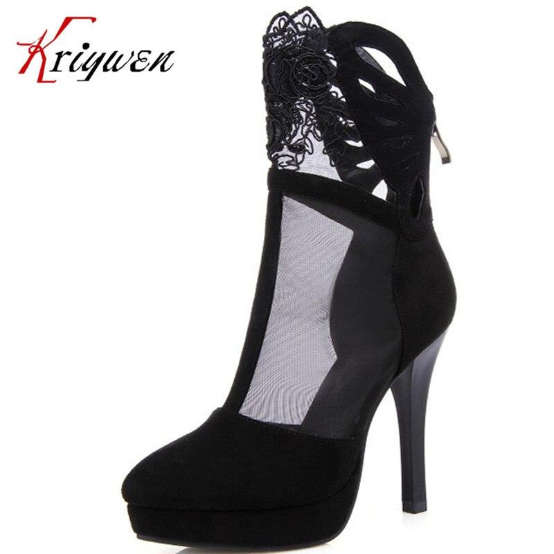 a0fa0208 2015 otoño nueva alta calidad de las mujeres bombas de la plataforma de la  mujer corte outs encaje sexy club dance altos zapatos botines zip