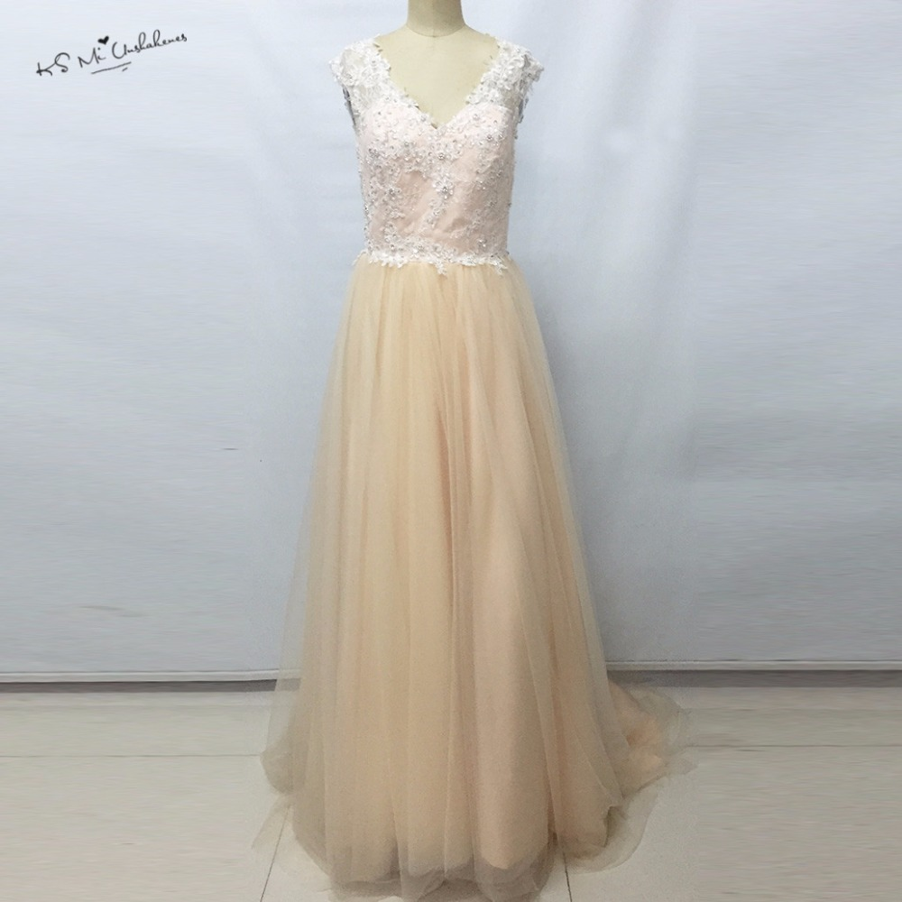 Cheap Champagne Pink Boho Wedding Dress 2017 Hot Sale Lace Wedding Gowns China Bride Dresses A Line Bead Vestidos de Noivas