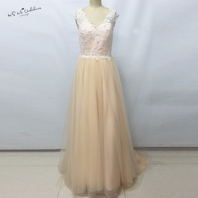 Cheap Champagne Pink Boho Wedding Dress 2017 Hot Sale Lace Wedding ...