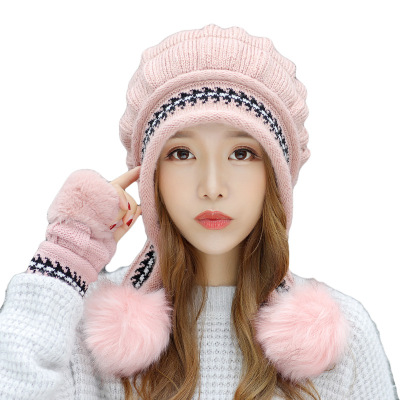 Women's Scarf Sets Spirited New Autumn And Winter Korean Version Of The Warm Women Hat Gloves Set Knitted Hair Ball Two Sets Of Ladies Thickening Hc37 Women's Accessories