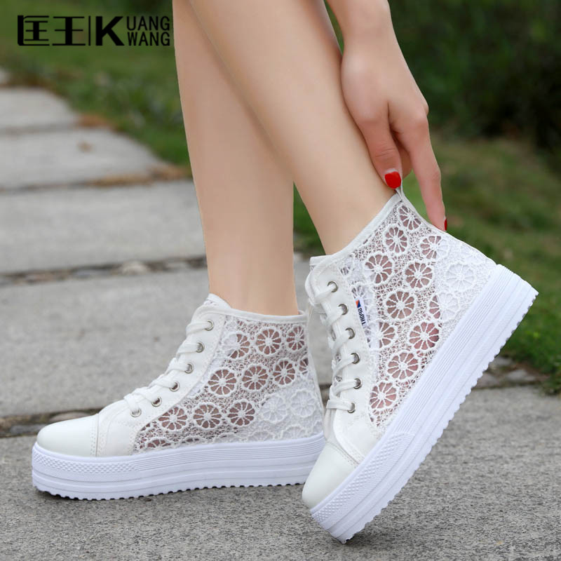 2017 Women Shoes Platform Flats Lace White Casual Shoes Woman Summer Breathable Zapatos Mujer summer women shoes casual cutouts lace canvas shoes hollow floral breathable platform flat shoe sapato feminino lace sandals