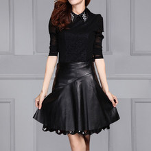 New Leather Sheepskin Skirt High Waist K157