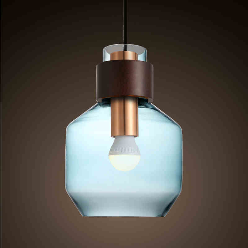 Modern minimalist Nordic creative living room bar coffee shop lighting single head Tea Shop Blue Glass Chandelier