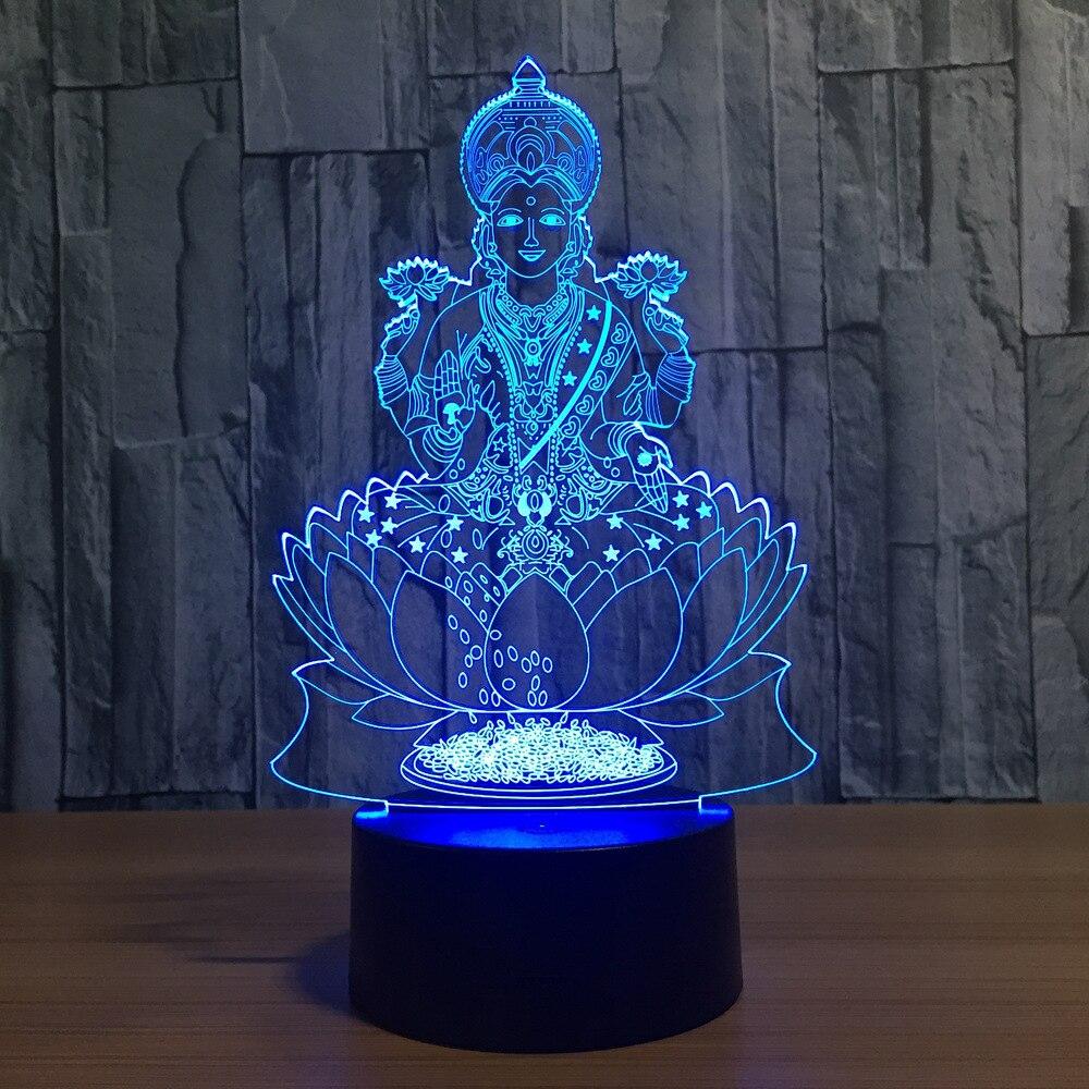 Будда 7 цветов меняющая ночную лампу 3D атмосфера Bulbing свет 3D визуальная Иллюзия Светодиодная лампа для детей игрушка рождественские подарки...