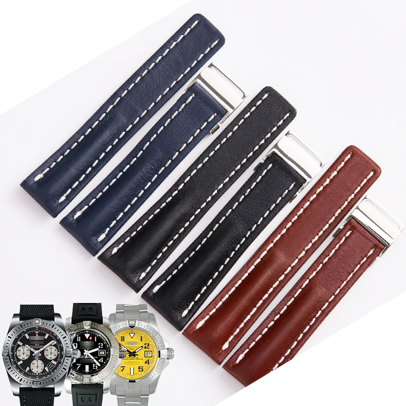 2019 New Arrival Watchbands Genuine Leather <font><b>Watch</b></font> Strap for Breitling <font><b>20mm</b></font> 24mm <font><b>Watch</b></font> Accessories Man <font><b>Women</b></font> Bracelets <font><b>Watch</b></font> <font><b>Band</b></font> image