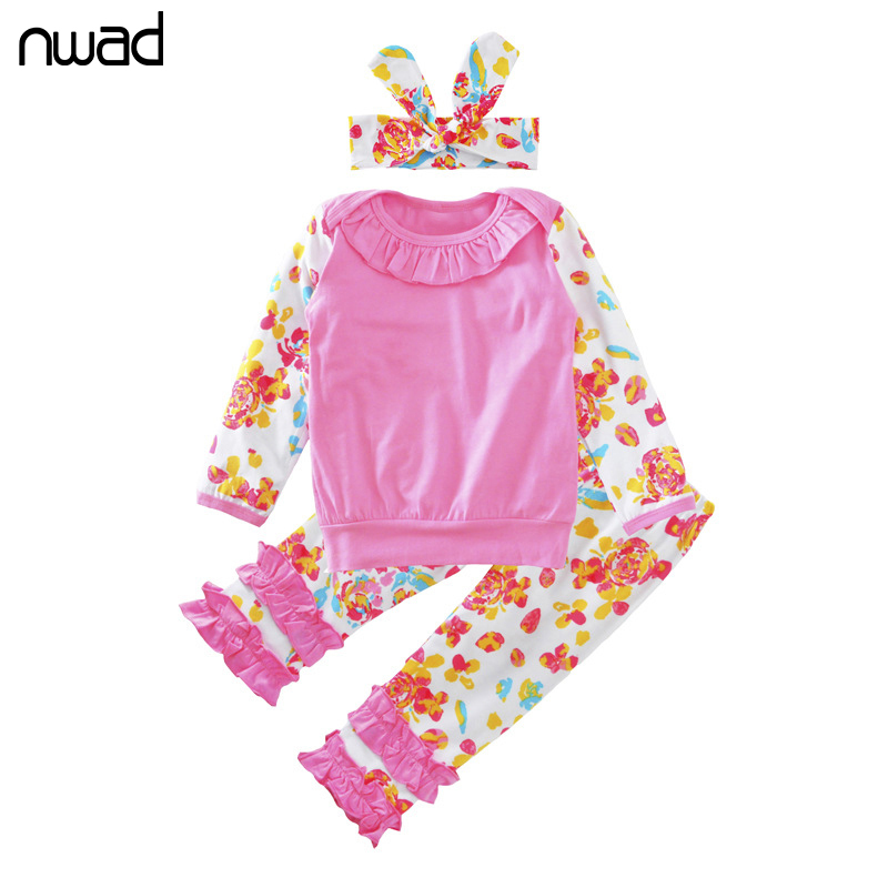 Flower Baby Girl Clothes 2017 New Long Sleeve Ruffles Clothing Suit For Baby Girls Clothes Set Infant Outfit With Headband FF288