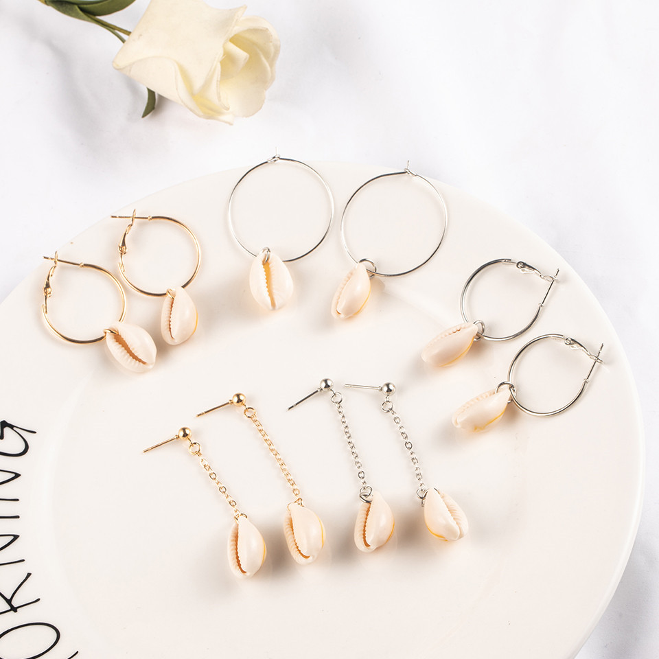 Sea Conch Shell Dangle Earrings Jewelry for Women Gold Silver Color Metal Earrings Summer Gifts Wedding Party Statement Earing (1)