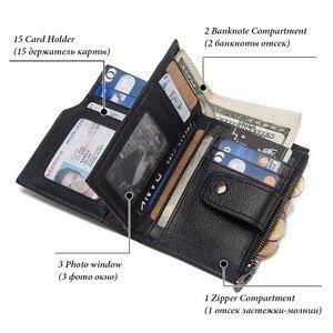 Image 4 - KAVIS rfid Smart Wallet Genuine Leather with alarm GPS Map Bluetooth Black Men Purse High Quality Design Wallets Free Engraving