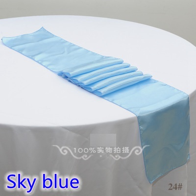 Sky Blue Colour Table Runner Satin Shiny Colour Table Decoration Wedding Hotel Party Show Table Runner Cheap