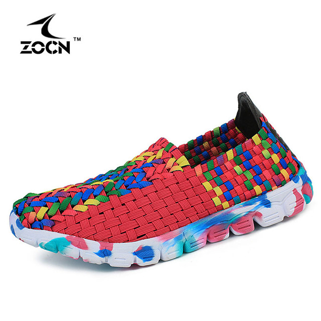 ZOCN 2016 Handmade Stretch Fabric Shoes Rainbow Color Flat Casual Shoe Woman Woven Shoes Fashion Elastic Band Zapatos Mujer