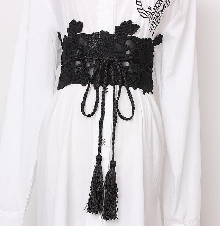 Women's Runway Fashion Lace Elastic Cummerbunds Female Dress Corsets Waistband Belts Decoration Wide Belt R1408