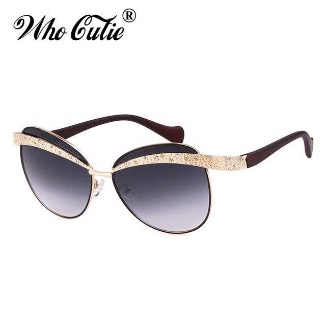 5de263d1410 WHO CUTIE Designer Sunglasses Women 2018 High Quality Brand Vintage Cool  Gold Eyebrow Frameless Lady Sun
