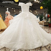 LS10386 Lace Flower Bead Off The Shoulder Luxurious Generous Beautiful White Wedding Dress Vestidos De Noiva