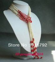 Free Shipping Pretty Coral White Pearls Long Chain Tassel No Clasp Tie Women Necklace Jewelry