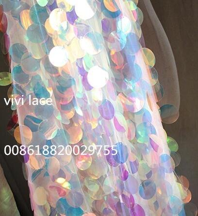 5 yards ysl012 brillant grande paillette bonne qualité sequin net tulle maille dentelle pour mariage/robe de soirée/haute couture