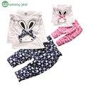 Девочка Модная одежда новорожденный девушка Полный Рукав кролик Печатных футболка + брюки Весна осень детская одежда наряд