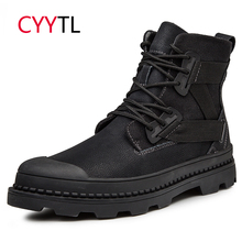 CYYTL Men Winter Motocycle Boots Work Safety Shoes Warm Martin Botas Zapatos de Hombre Male Erkek Bot Military Sneakers Martens origial design men pointed toe winter botas striped spike decor military boots size 37 46 creeper zapatos hombre martin boots