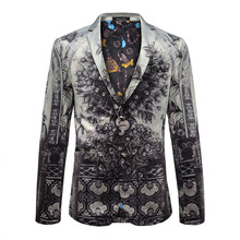 Männer Blazer Anzüge 2017 Neue Marke Mode Casual Slim Fit Männer Kleidung Pfau Gedruckt Blazer Jacke Hohe Qualität Kostüm Homme