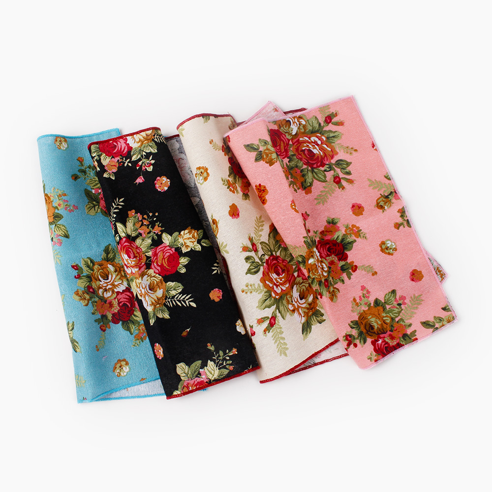 Mantieqingway 4PCS/LOT Men's Floral Printed Handkerchief Groomsmen Men Pocket Square Cotton Hanky Business Chest Pocket Towel