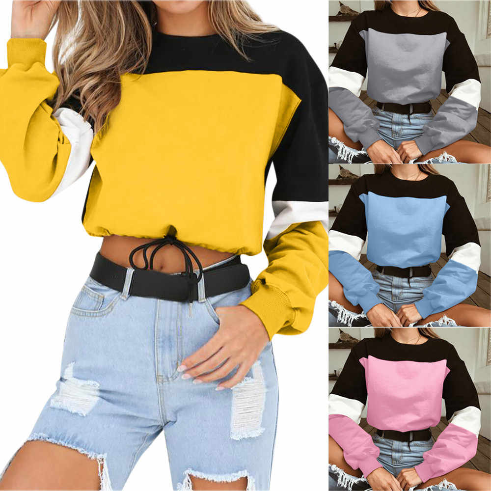 Womens Long Sleeve Splcing Color  Round neck solid color Casual Wild Sweatshirt Pullover Tops ropa mujer