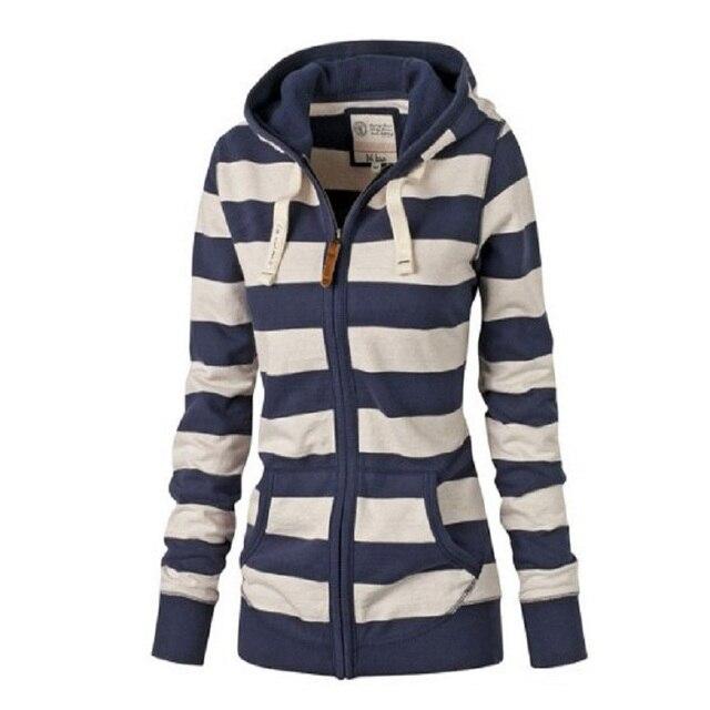 0ee4756e3ea Women s Autumn Winter Warm Fleece Hooded Sweatshirt Fashion Striped  Splicing Sleeve Loose Hoodies Pullover Jumper Top Plus size