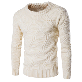 Warm Winter Sweater Men 2019 Beige Knitting Pullovers Casual Slim Cotton Long Sleeve Pullovers Sweaters Knitted Plus Size M-XXL