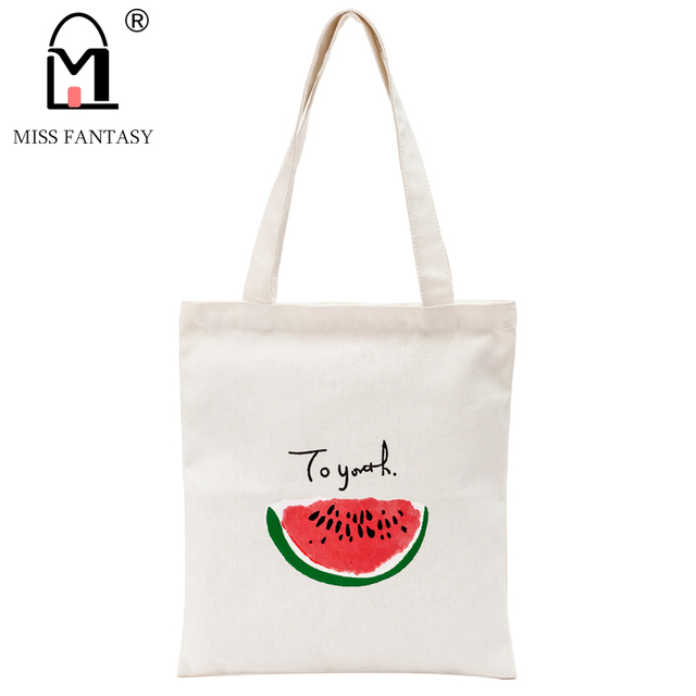 Women Cotton Handbag Canvas Carton Printing Should Bag For S Summer Beach Travel Tote Bags