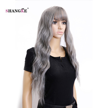 """SHANGKE Hair 26"""" Long Synthetic Wigs For  Women Light Gray Wavy Wig Heat Resistant Synthetic Fake Hair Wig"""