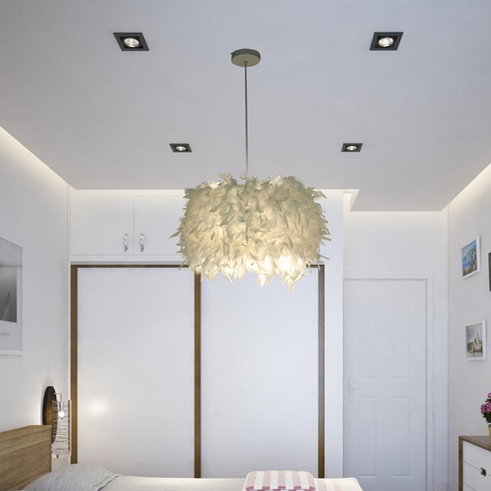 Pendant Feather Lamp Romantic Dreamlike Feather Droplight Bedroom Living Room Parlor Hanging Lamp E26/E27 Max 15W