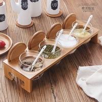 Kitchen supplies,Japanese style glass seasoning jars,spice box set,seasoning bottles,salt shaker,Conjunto de caixa de condimento
