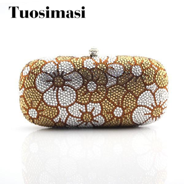все цены на Elegant women hand clutch crystal bag party bag yellow flower pattern women wedding party bags