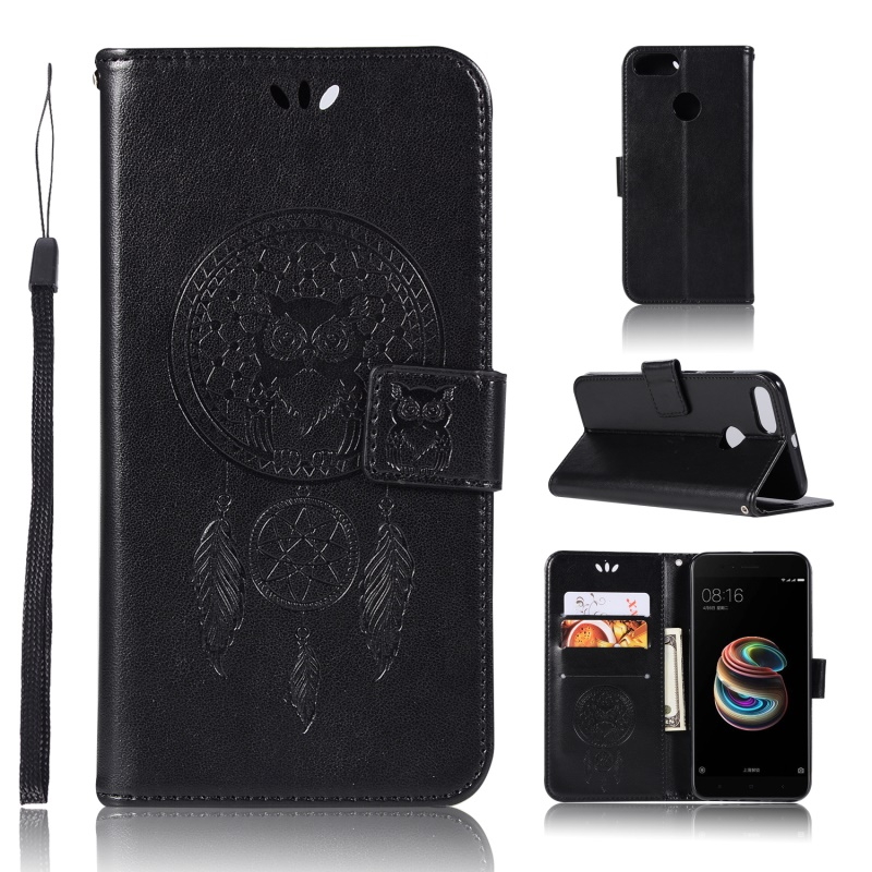Dulcii Case for Xiaomi Mi A1& 5X Bag Imprint Tree Owl Magnetic Wallet PU Leather Stand Cover for Xiaomi Mi A1 Shell Coque- Black