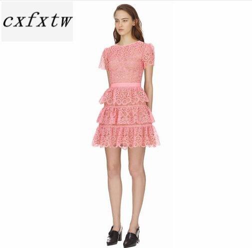 Robe à manches courtes 2018 été col rond jolie robe en dentelle rose de haute qualité - 2