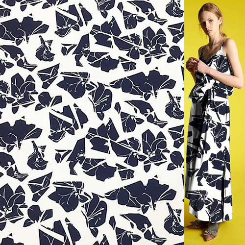 Navy blue abstract print pure silk crepe de chine silk fabric 18momme,SCDC1029