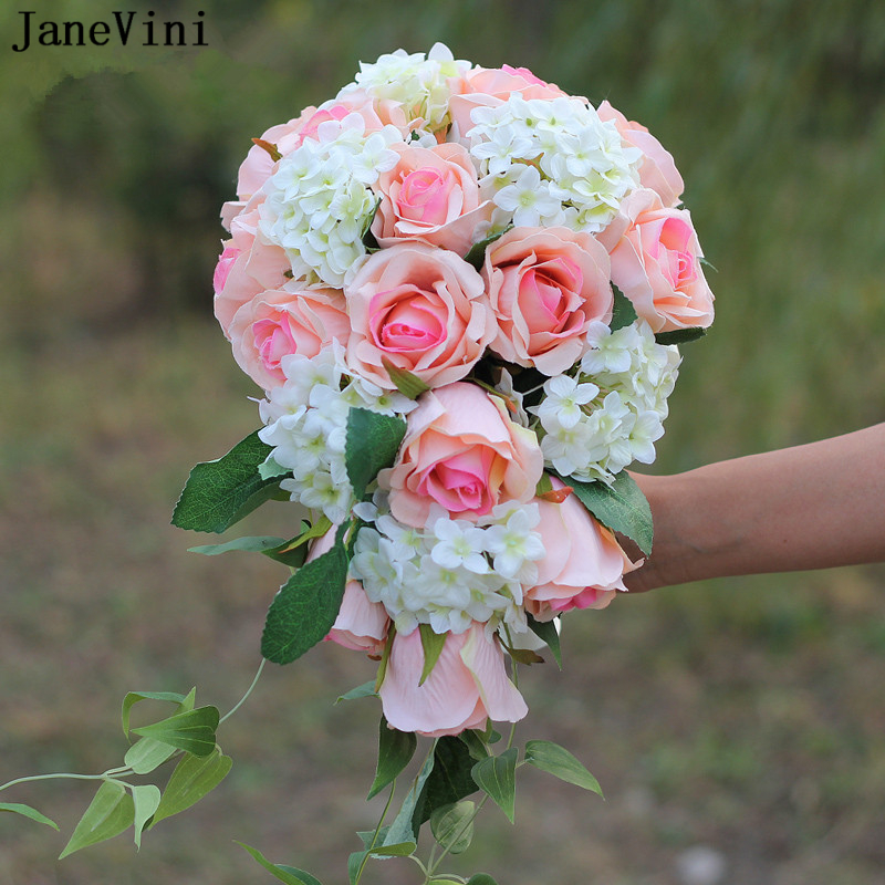 JaneVini Artificial Waterfall Pink Flowers Wedding Bouquets 2019 Elegant Silk Roses Bridal Brooch Bouquets Accesorios De novia