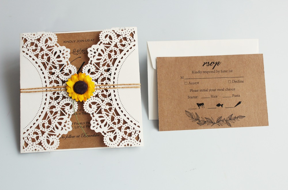 laser cut wedding invitations ivory wedding invite sunflower