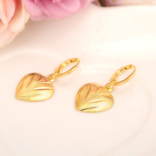 2 pairs love heart drop earring Ethiopian/Nigeria/Kenya /Ghana Gold color Dubai african Arab Middle Eastern Jewelry Mom Gifts(China)