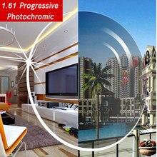 1,61 photochrome Grau oder braun progressive objektiv SPH bereich 6,00 ~ + 5,50 Max CLY 4,00 optische linsen für brillen