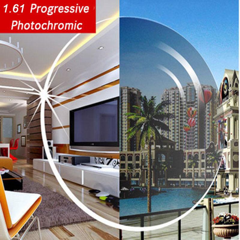 1.61 verres progressifs photochromiques gris ou marron gamme SPH-6.00 ~ + 5.50 Max CLY-4.00 lentilles optiques pour lunettes