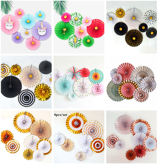 40pcs Foil Gold Rosettes Holiday Decorations Backdrops Fan in Blush Pink/Black/Mint Party Ideas Pom Wheel Paper Medallions