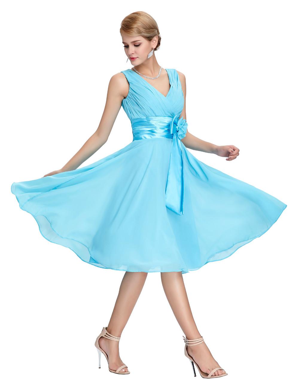 HTB1SYHPMVXXXXaFaXXXq6xXFXXXtKnee Length Short Chiffon Blue Dress