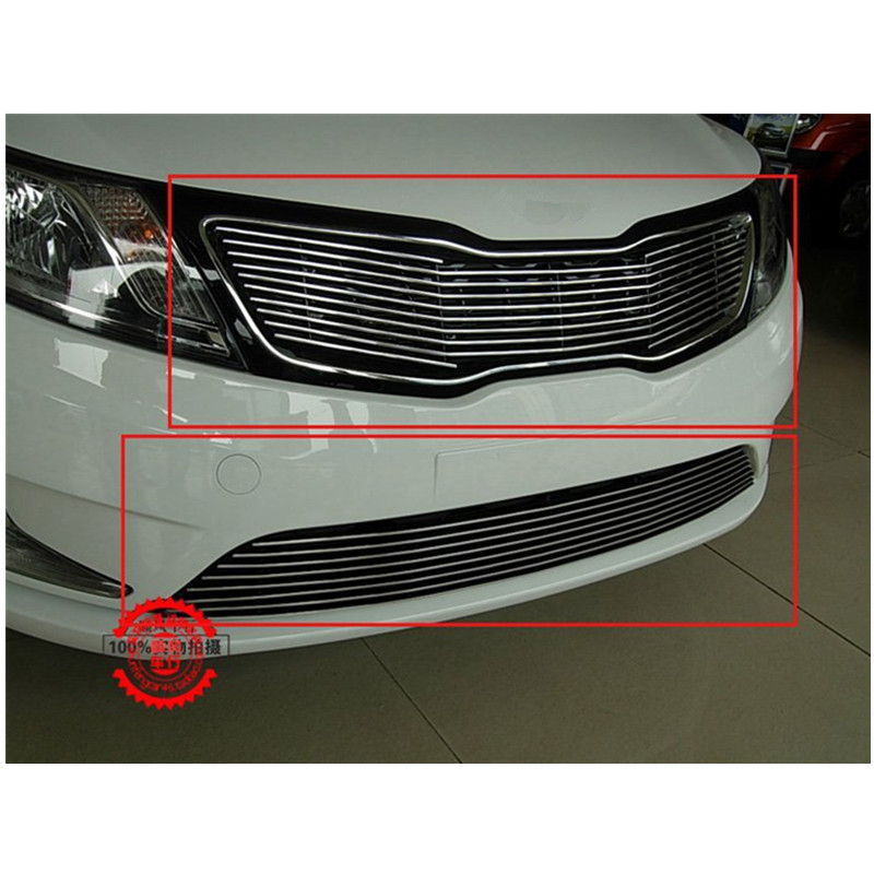 High quality stainless steel Front Grille Around Trim Racing Grills Trim For 2011-2012 KIA Rio/K2