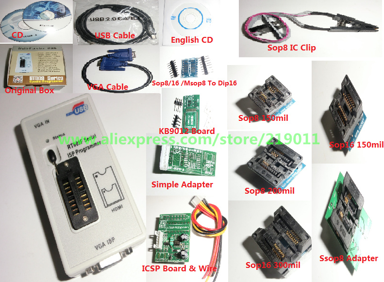 RT809F LCD ISP programmer with 8 adapters sop8 test clip ICSP board ISP cable