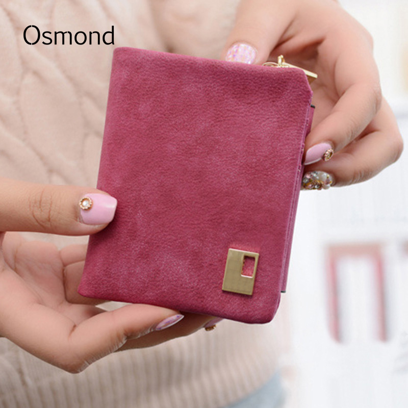 Osmond Matte Wallet Fashion Women Purse Short Wallets Nubuck Leather Coin Purse Lady Mini Pouch ID Card Holder Small Purses fashion women coin purses dots design mini girl wallet triple zipper clutch bag card case small lady bags phone pouch purse new